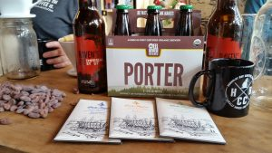 Beer from Eel River Brewing, chocolate from Dick Taylor Craft Chocolate and coffee from Humboldt Bay Coffee on display at the trio of businesses first meeting to discuss their collaboration brew at Humboldt Bay Coffee's retail location in Eureka